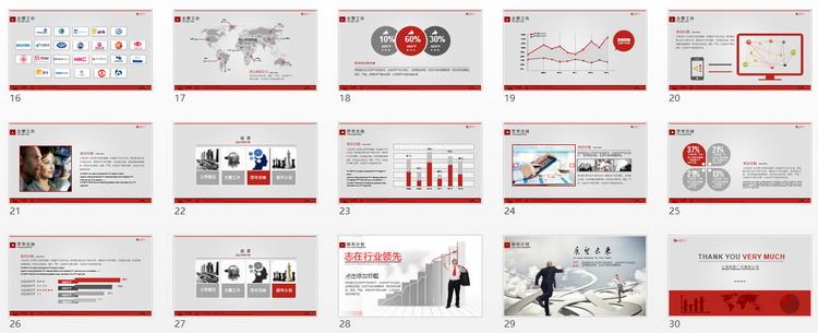 欧式简约暗红色企业报告ppt模板