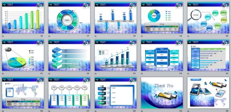 紫蓝两色现代计算机信息科技镜面ppt模板图片