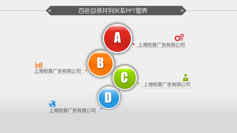 四色创意目录并列关系ppt图表