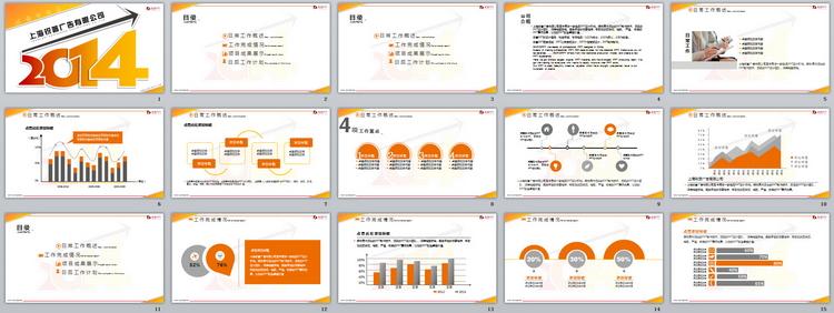 设计动态ppt模板,现代商务,创意设计,黄色,2014年,信息图表,会议讨论