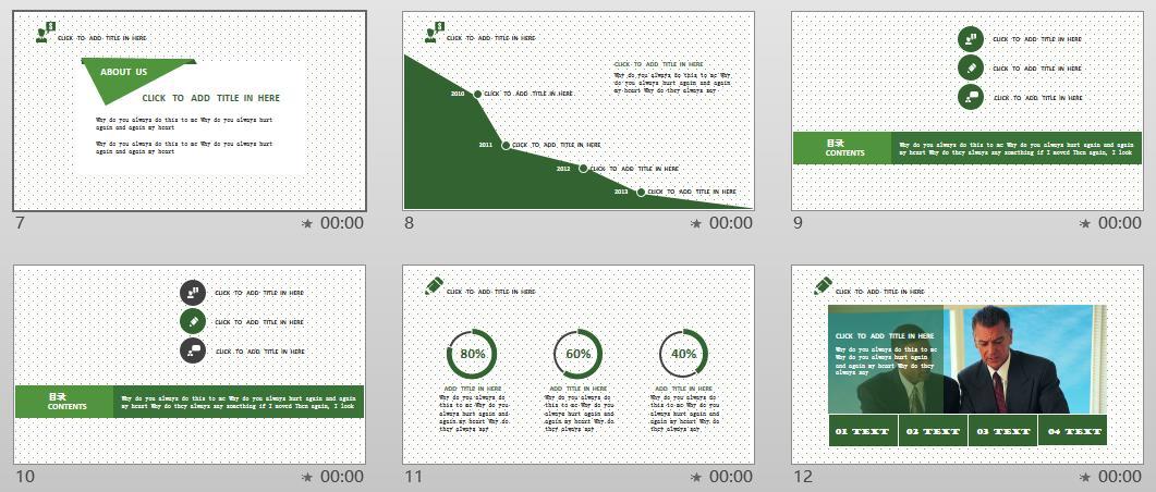 【春天来了】绿色名片式商务ppt模板
