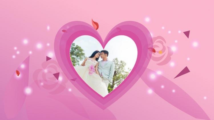 浪漫唯美爱情情人节婚礼婚纱相册ppt模板