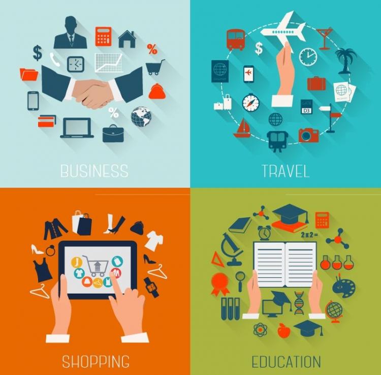 扁平化-商务与教育旅行图标设计矢量素材