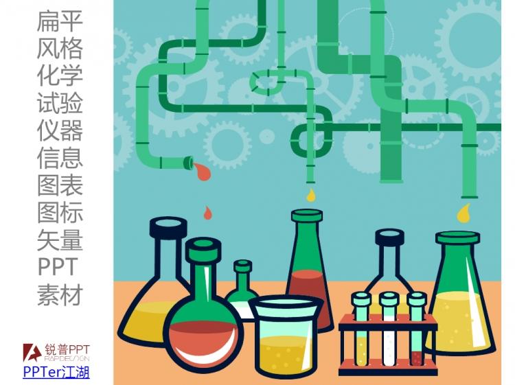 扁平风格化学试验仪器矢量ppt图表素材
