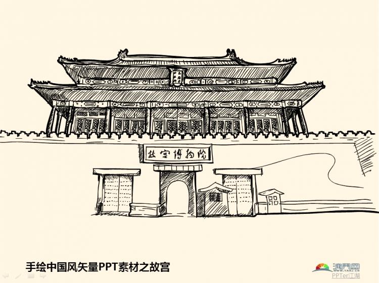手绘中国风矢量ppt素材之故宫