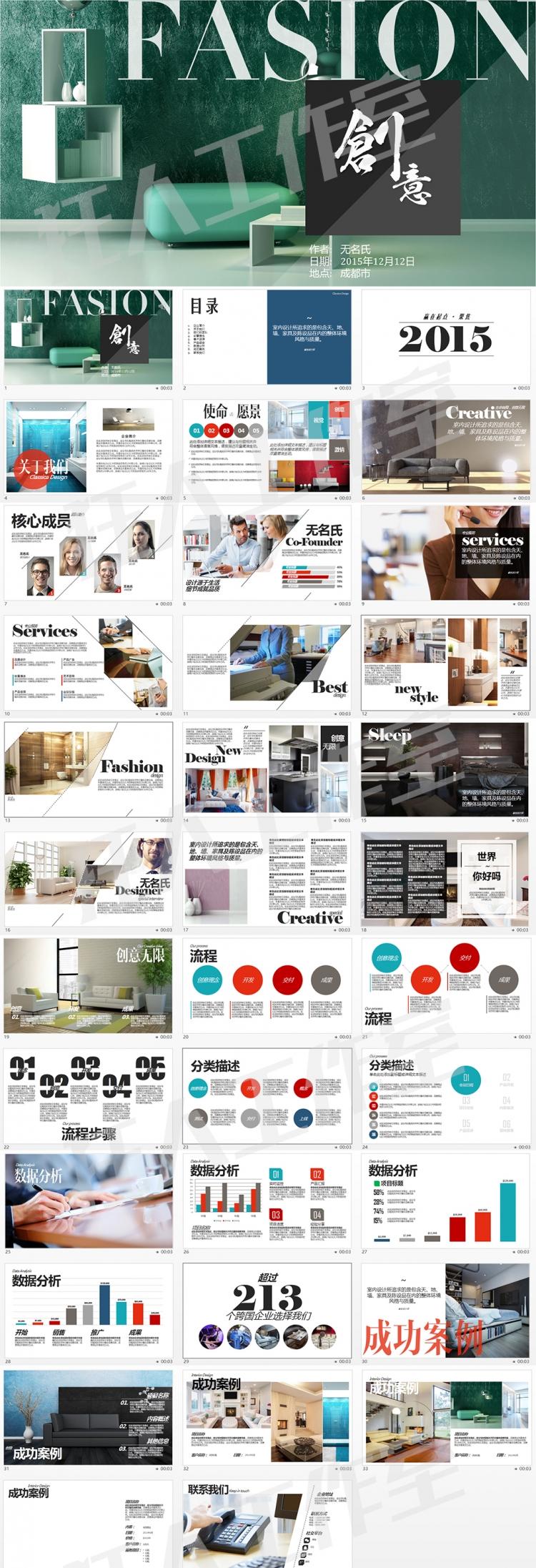 室内装饰设计图片展示ppt模板动态