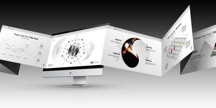 2016黑白灰创意商务动态ppt模板之聚合