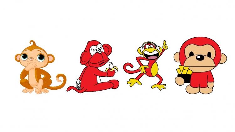 【免费】猴年猴子剪纸卡通形象ppt素材